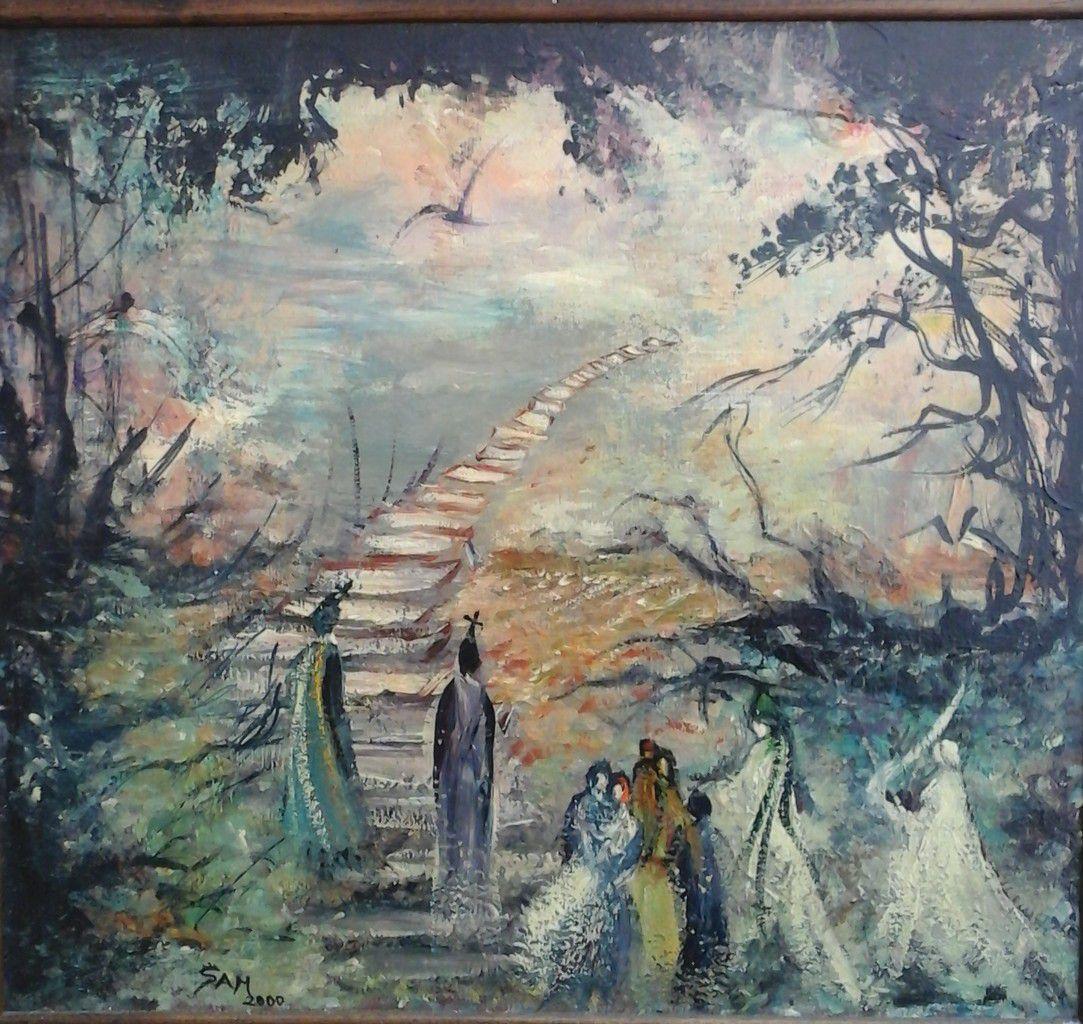 """"""" L' escalier vers l ' au-delà """" peinture sur bois """" 42 cm x 38 cm"""