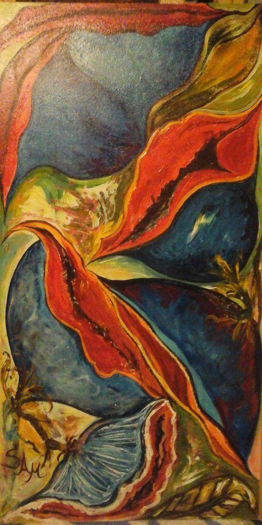 """"""" Les clochettes bleues  du paradis  n°1  """"  peinture sur bois gouache  60 cm x 31 cm"""