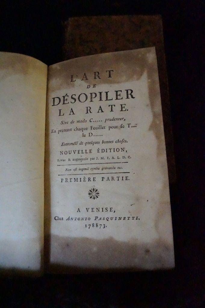 1773. L'art de se désopiler la rate ... en deux tomes.