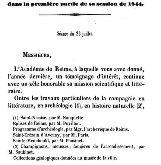 Annales de l'Académie de Reims, second volume, 1843-1844.