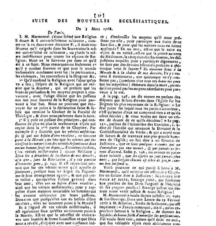 Nouvelles ecclésiastiques, ou mémoires. 1768. Marmontel. Censure. Sorbonne. bélisaire.