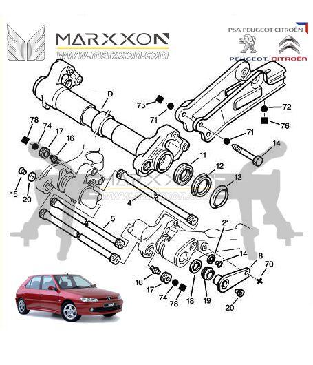 peugeot 106 206cc/rc/sw 208 306 partner Citroen ax saxo xsara xz picasso berlingo rear axle diagram