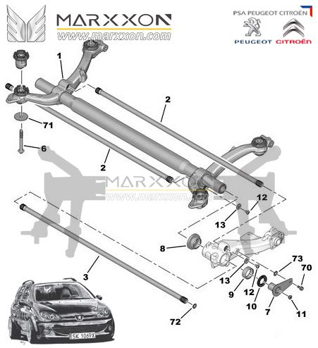 Peugeot 106 206cc Rc Sw 208 306 Partner Citroen Ax Saxo Xsara Xz Picasso Berlingo Rear Axle Diagram