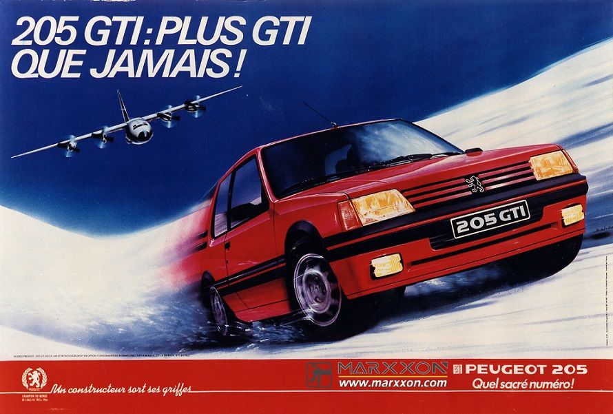 PSA Peugeot 205, 205 GTI interesting advertising and post collections