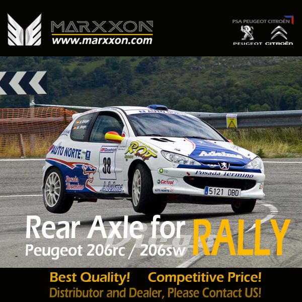 Enhanced Marxxon Peugeot 206RC rear axle torsion bars reinforced bar helps 206RC in Rally Race