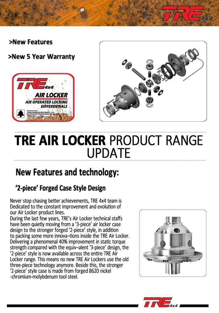 TRE AIR LOCKER New Features New 5 Year warranty