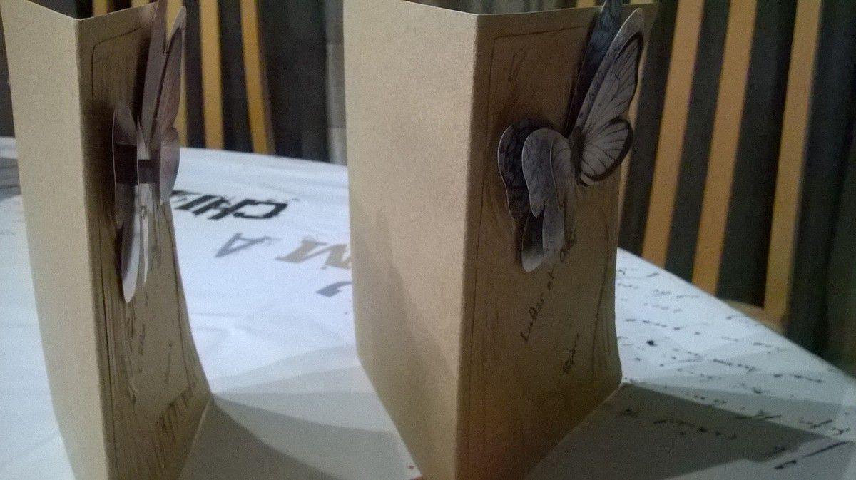 Carte de bois et son papillon 3D