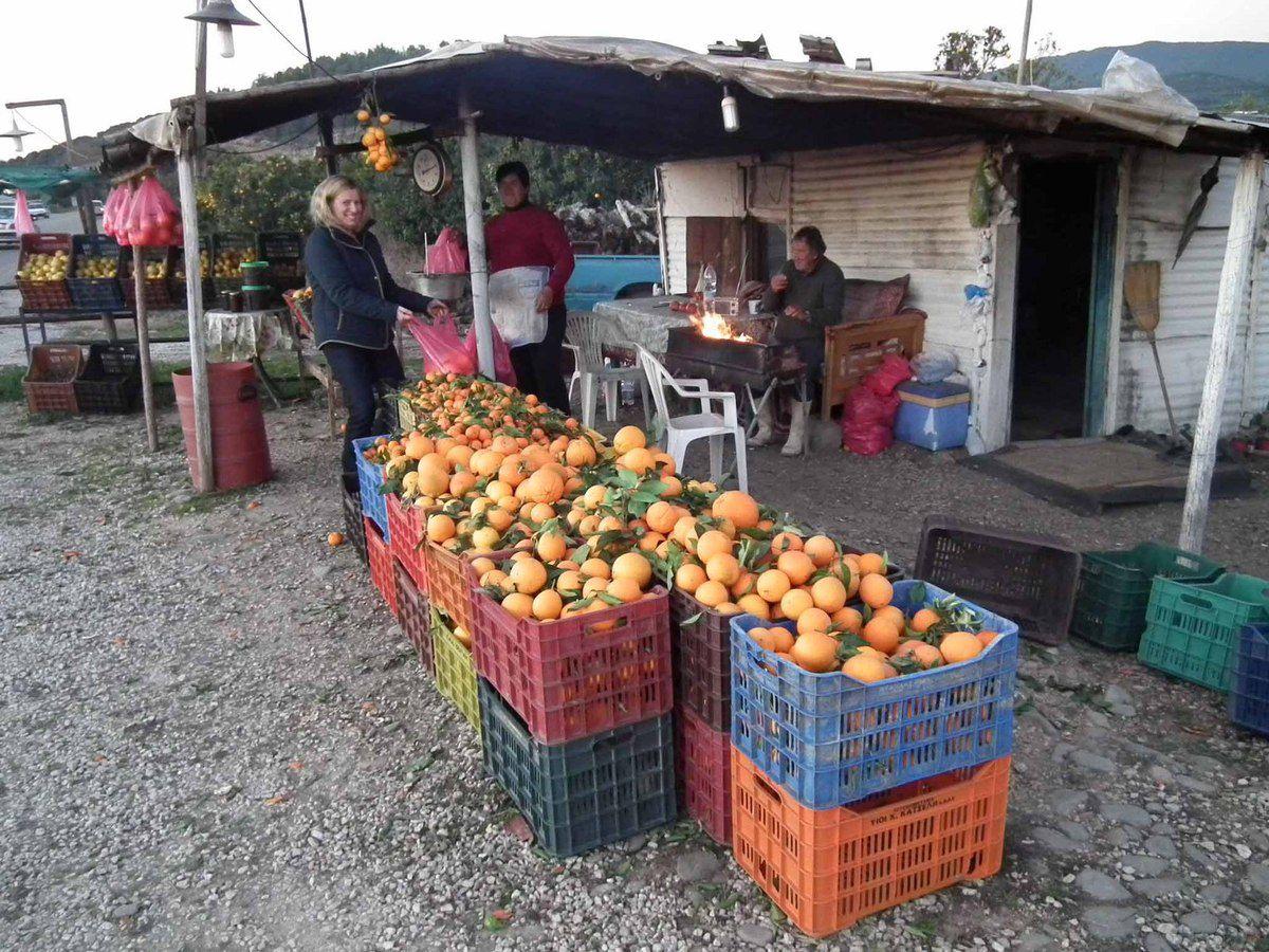Ville de Mésolongi avec sa crèche et achats d'oranges et de clémentines sur le trajet.