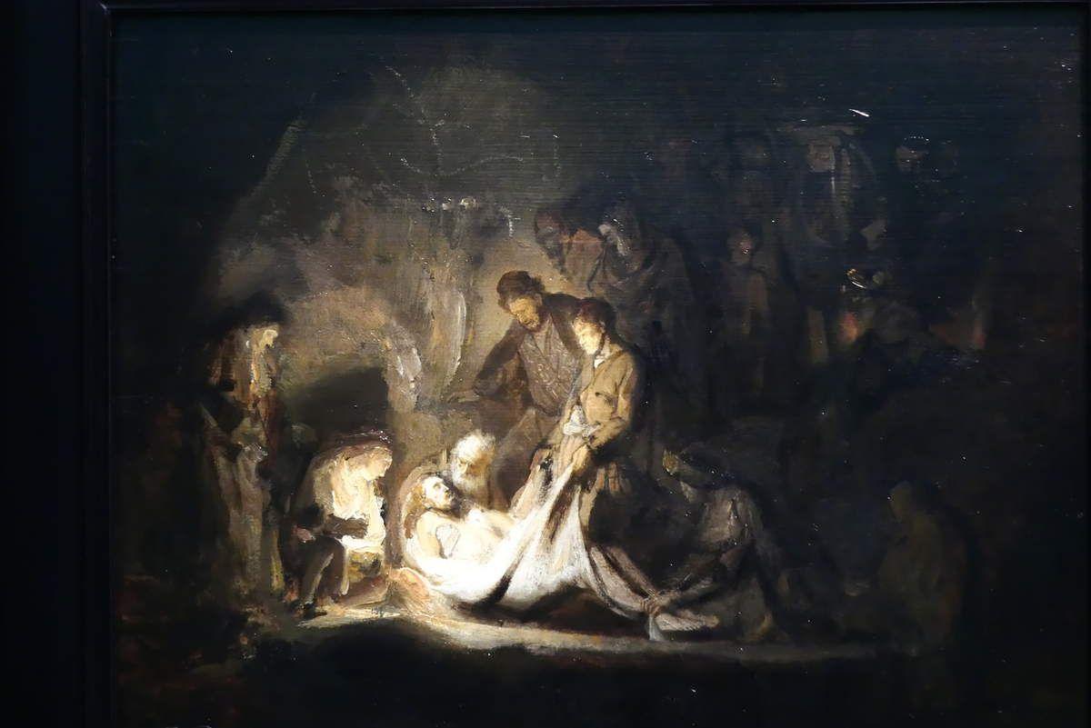 The entombment, Rembrandt van Rijn (1624). Et Cédric le trouve moche.