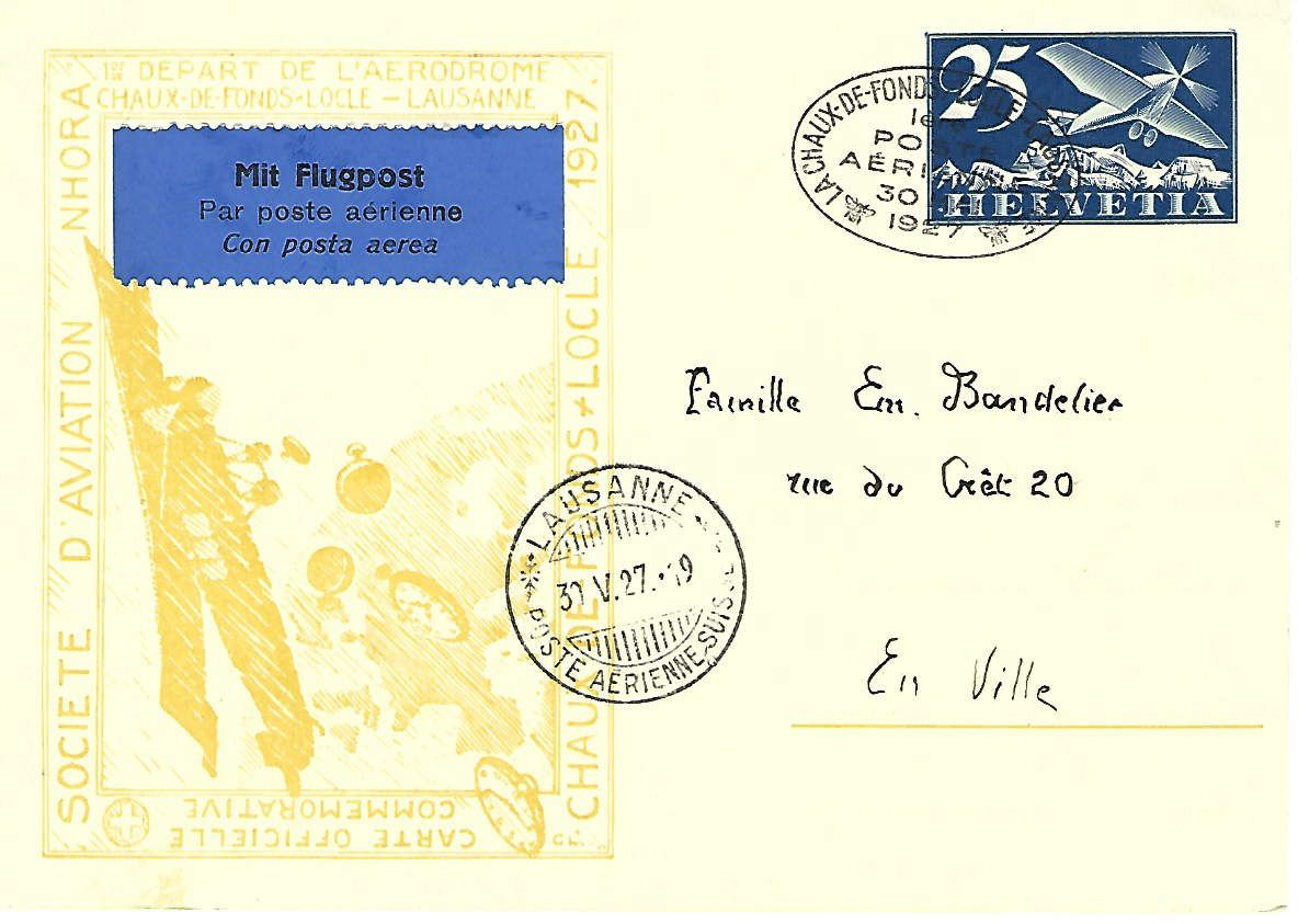 Société d'Aviation Nhora - Carte Officielle Commémorative 1927