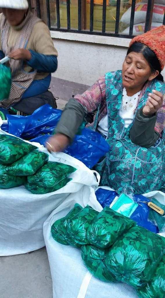 Vente de coca au marché par les cholitas