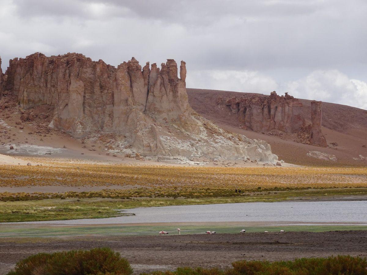 Le Salar de Tara avec sa belle lagune, ces roches volcaniques et les volcans en arrière plan