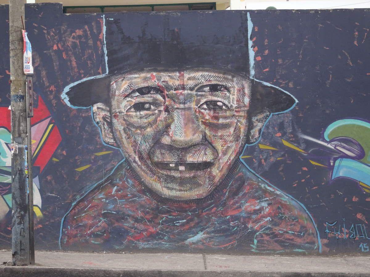 Jolies fresques à Riobamba en revenant vers l'hôtel