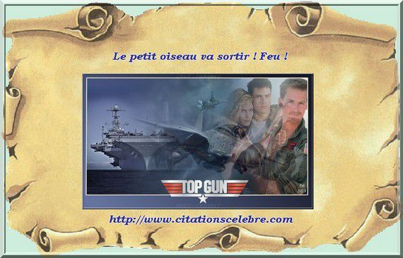 Phrase culte en image dans le film TOP GUN avec Tom Cruise, Kelly McGillis, Tom Skerritt ...