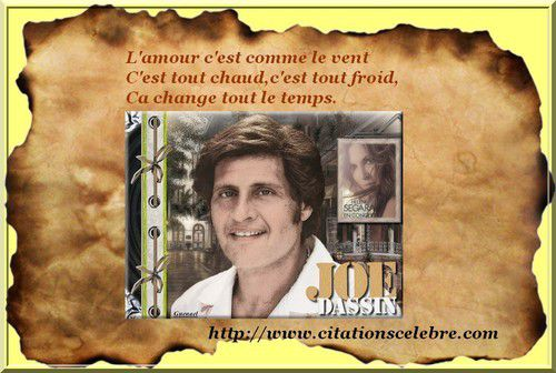 Citation en image de Joseph Ira Dassin, dit Joe Dassin