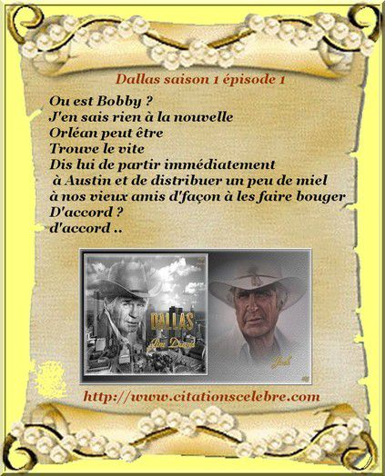 Phrase culte en image dans la série Dallas avec Jock Ewing alias Jim Davis