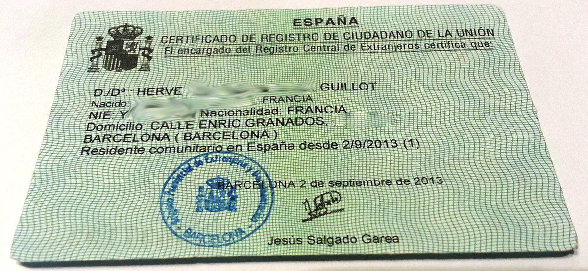 Etre enregistré en Espagne