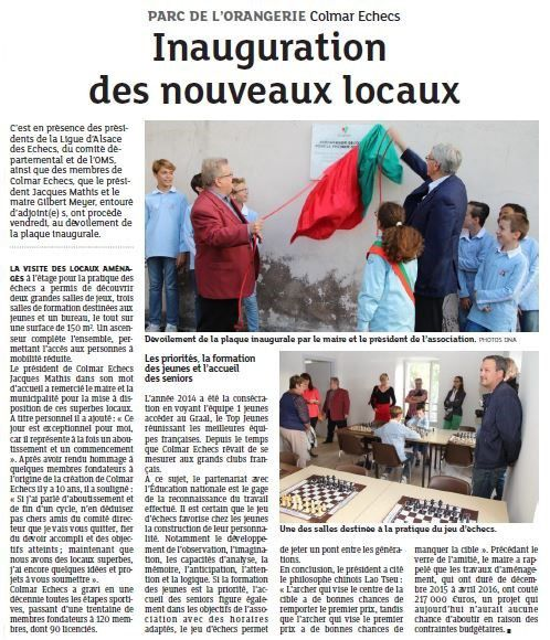 L'article des DNA, 28 septembre 2016