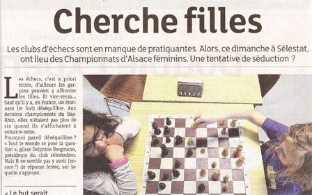 Les échecs féminins sont à l'honneur dans les Dernières Nouvelles d'Alsace