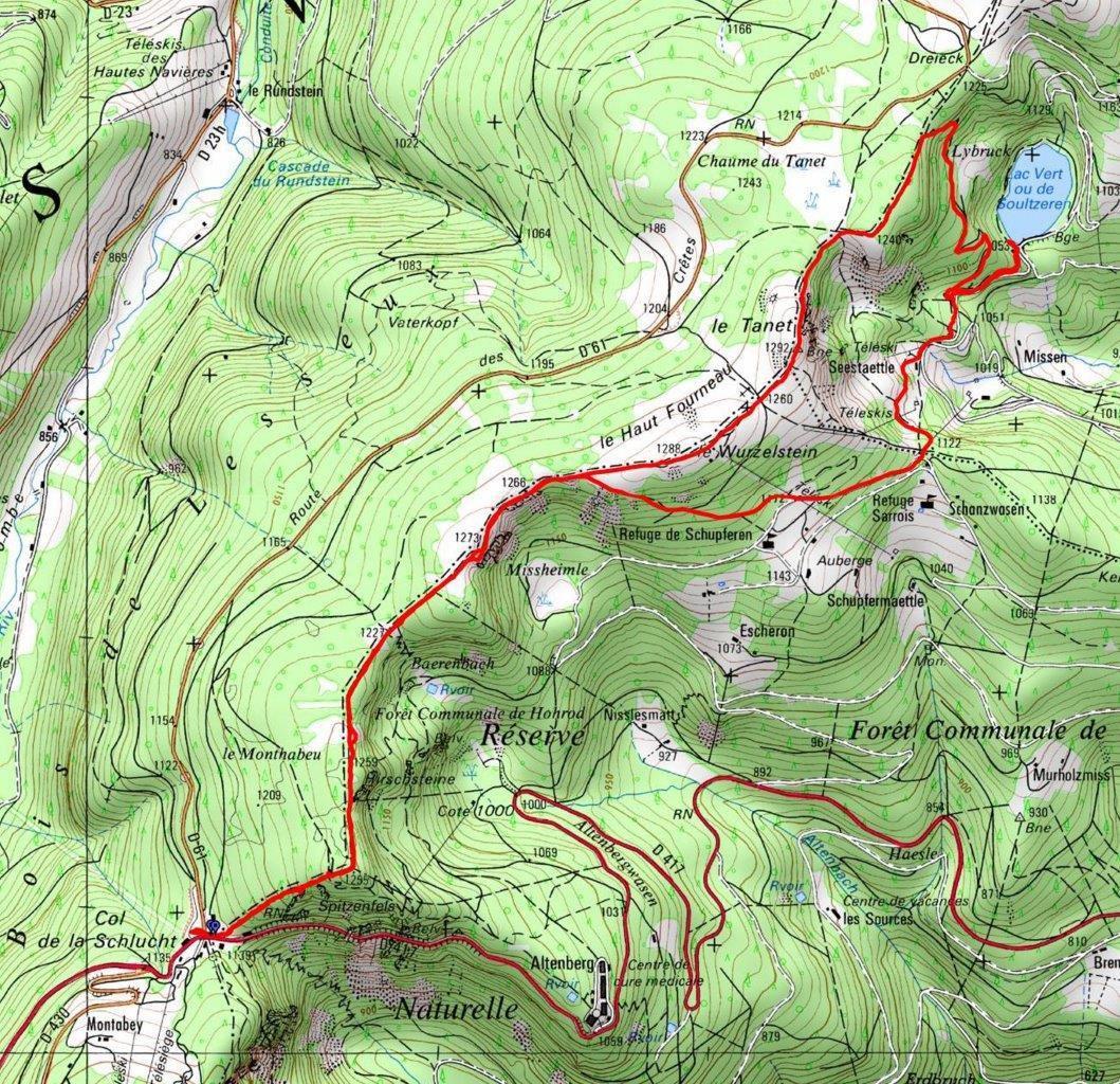 Du col de la Schlucht au lac Vert, en passant par le Tanet   © IGN
