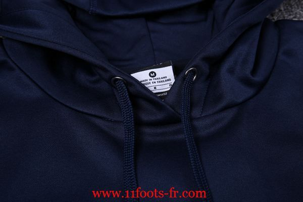 Survetement De Foot PSG Sweat a Capuche 16-17 Bleu Royal Homme Retro