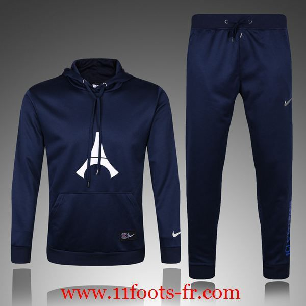 Survetement Foot Paris PSG Homme Sweat a Capuche 16 17 Bleu Royal en Ligne
