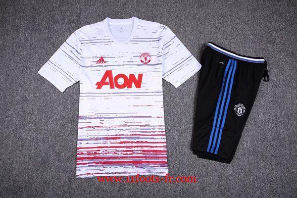 Nouveau T Shirt de Foot Manchester United Blanc Kit 2016-17 + Pantalon 3/4