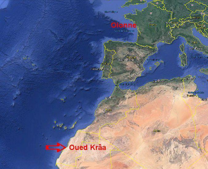 Olonne - Oued Krâa : 2.750 kms à vol d'oiseau ...