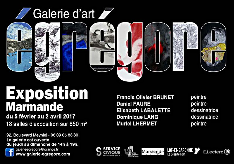 Nouvelle exposition à la galerie Egrégore jusqu'au 02/04/2017