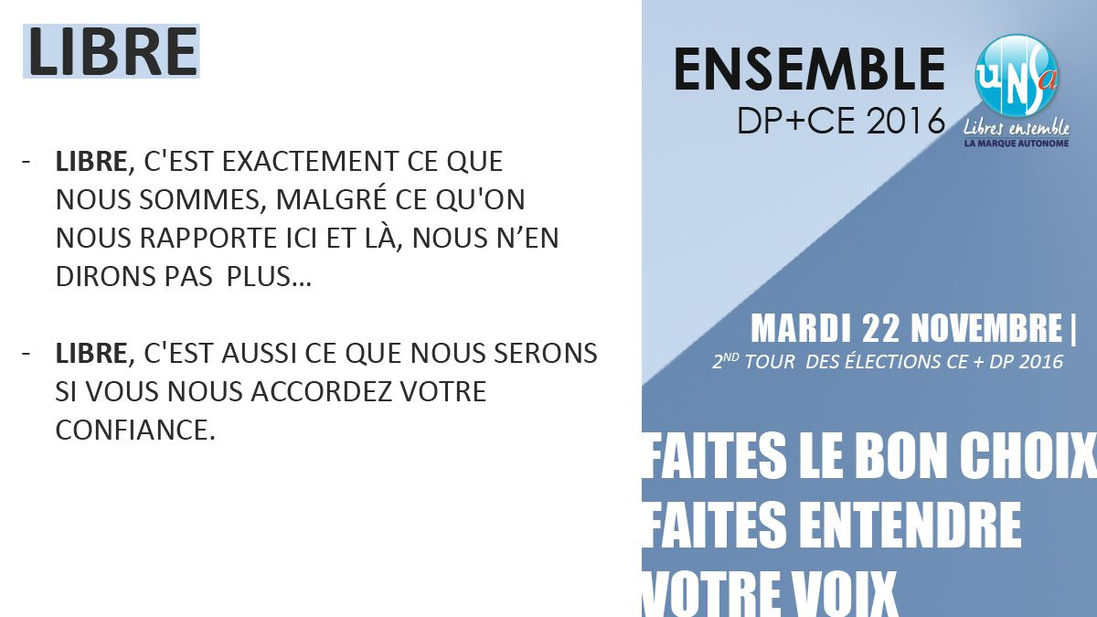 Second tour - Elections CE et DP du 22 novembre 2016