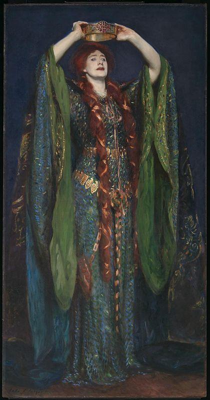 Ellen Terry interprétant Lady Macbeth. Tableau de John Singer Sargent (1889).