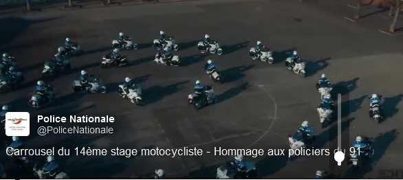 Hommage filmé par Drône des POLICIERS MOTARDS à leurs Collègues agressés à Viry-Châtillon (VIDEO)