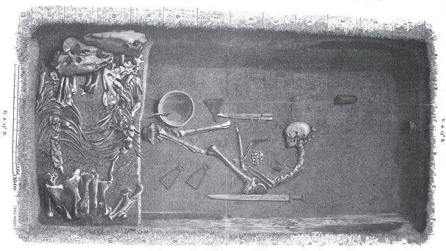 Une illustration représentant la tombe, datée de son excavation en 1989 Evald Hansen