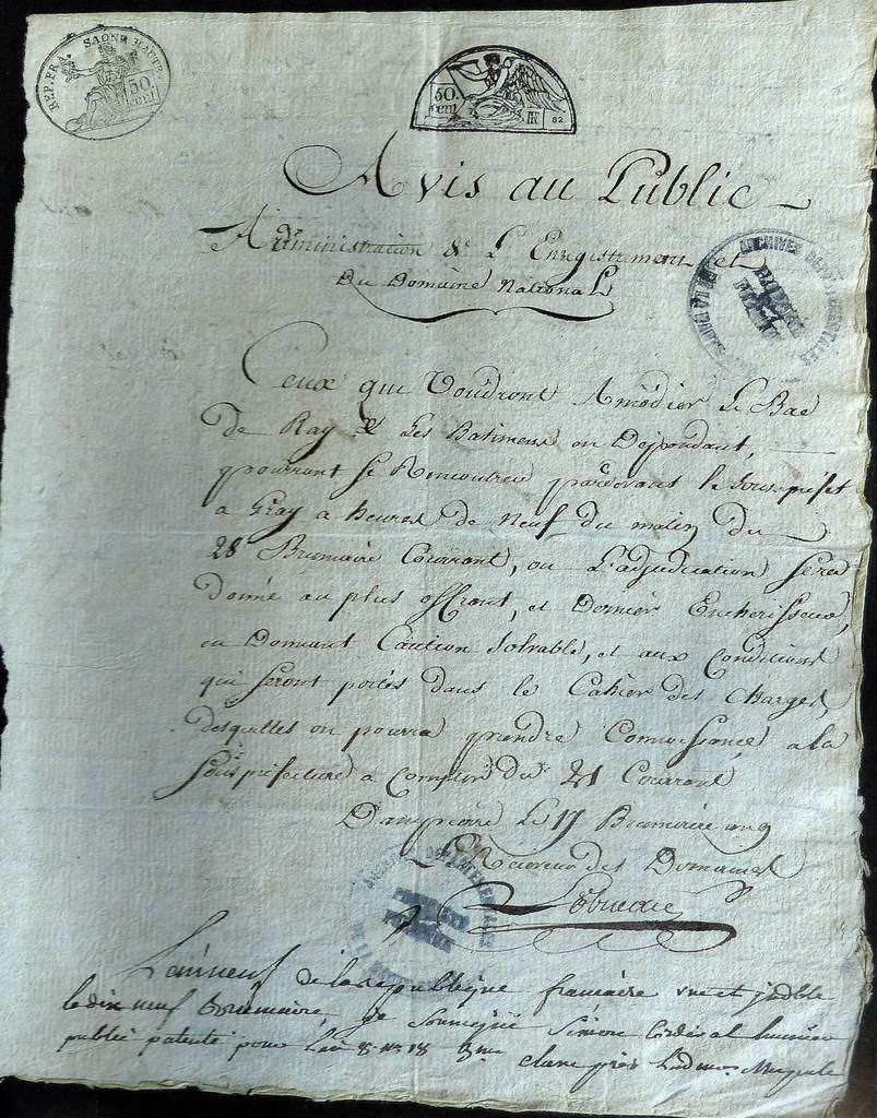 Concession du Bac de Ray en 1800. ADHS. P.M.