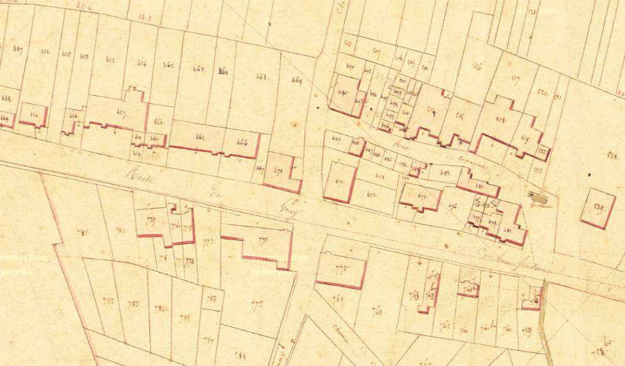 1 vue générale.2 et 3 le centre du village.4 Eglise et presbytère.5 La Motte castrale (encore visible de nos jours). 1830