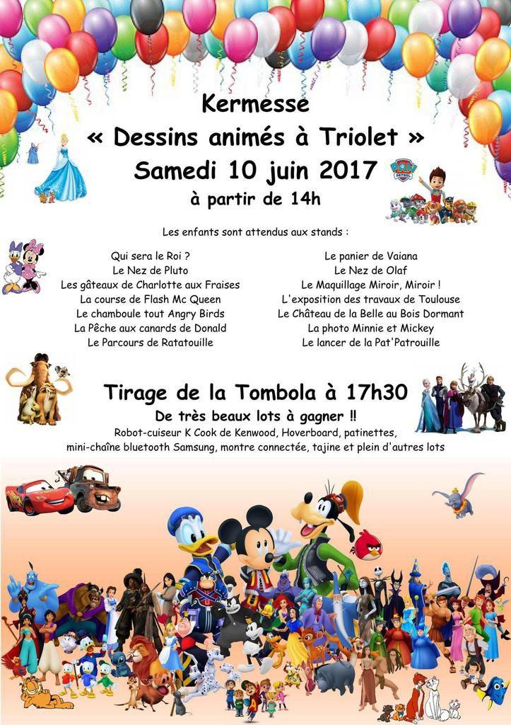 Programme de la Kermesse &quot&#x3B;Dessins animés à Triolet&quot&#x3B;