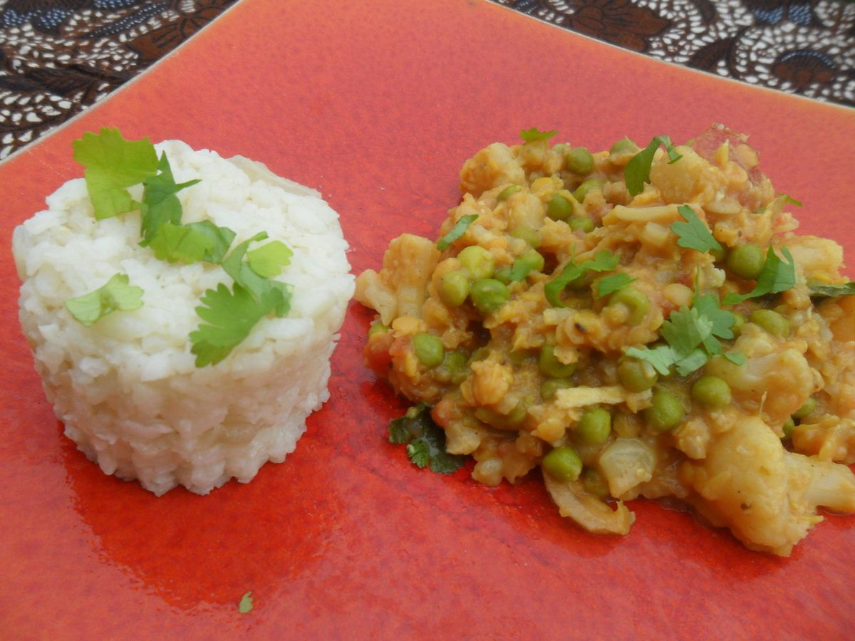 Curry de légumes et riz aux épices