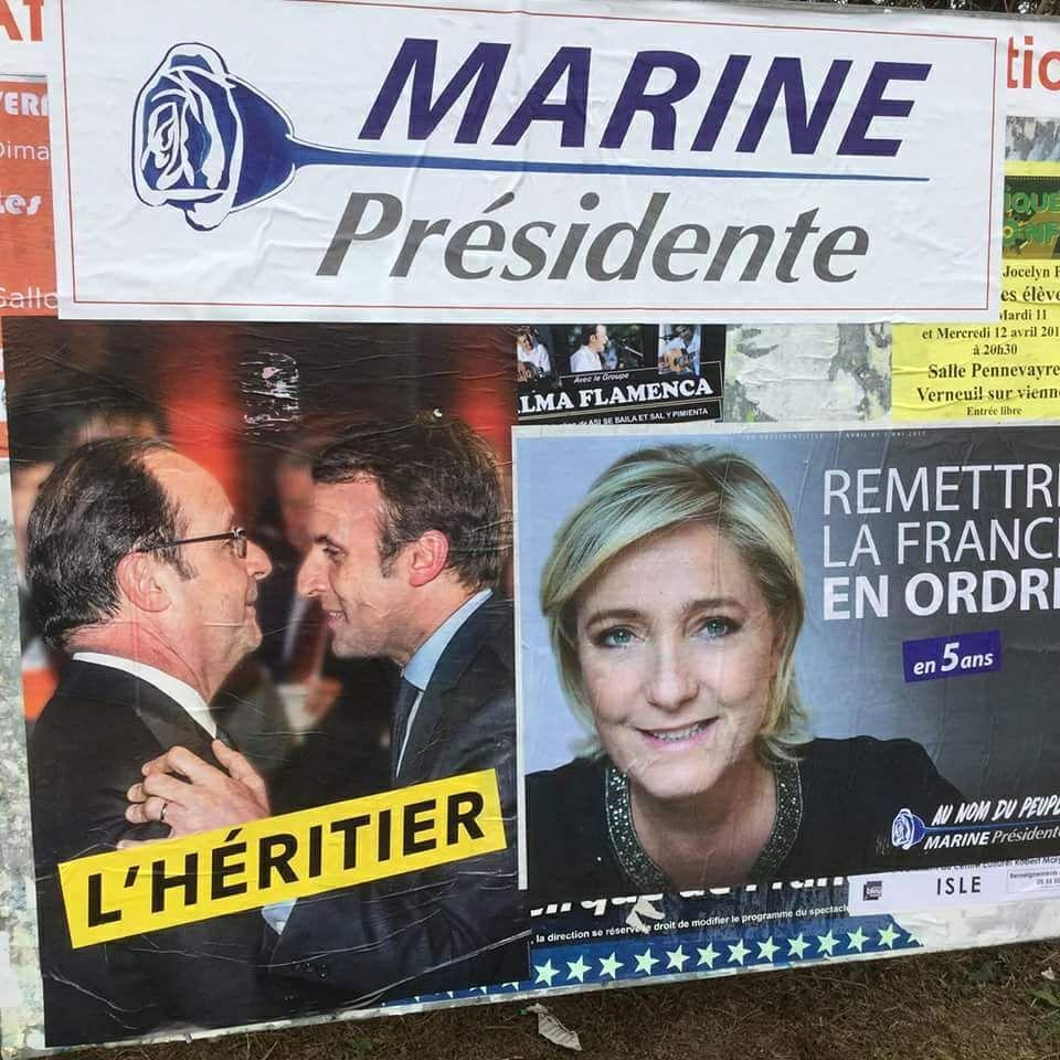 Macron l'héritier de Hollande, Marine la seule à dire non aux dictats de l' UE.