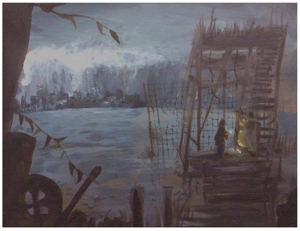 04/2016 Examen : peinture d'un paysage inventé, 4h&#x3B; format 24x32.