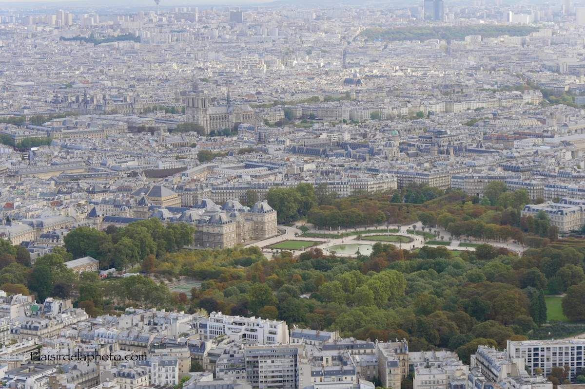 Le jardin du Luxembourg vu de la Tour Montparnasse. Hybride Lumix GX 8 - ISO 200&#x3B; 40 mm (83 mm en 24x36)&#x3B; f5,6&#x3B; 1/250 sec. Photo non retouchée, non recadrée, compressée.
