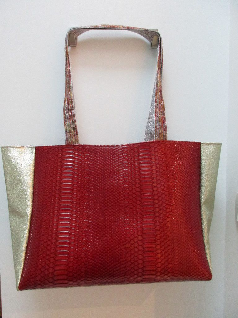 Sac simili cuir rouge
