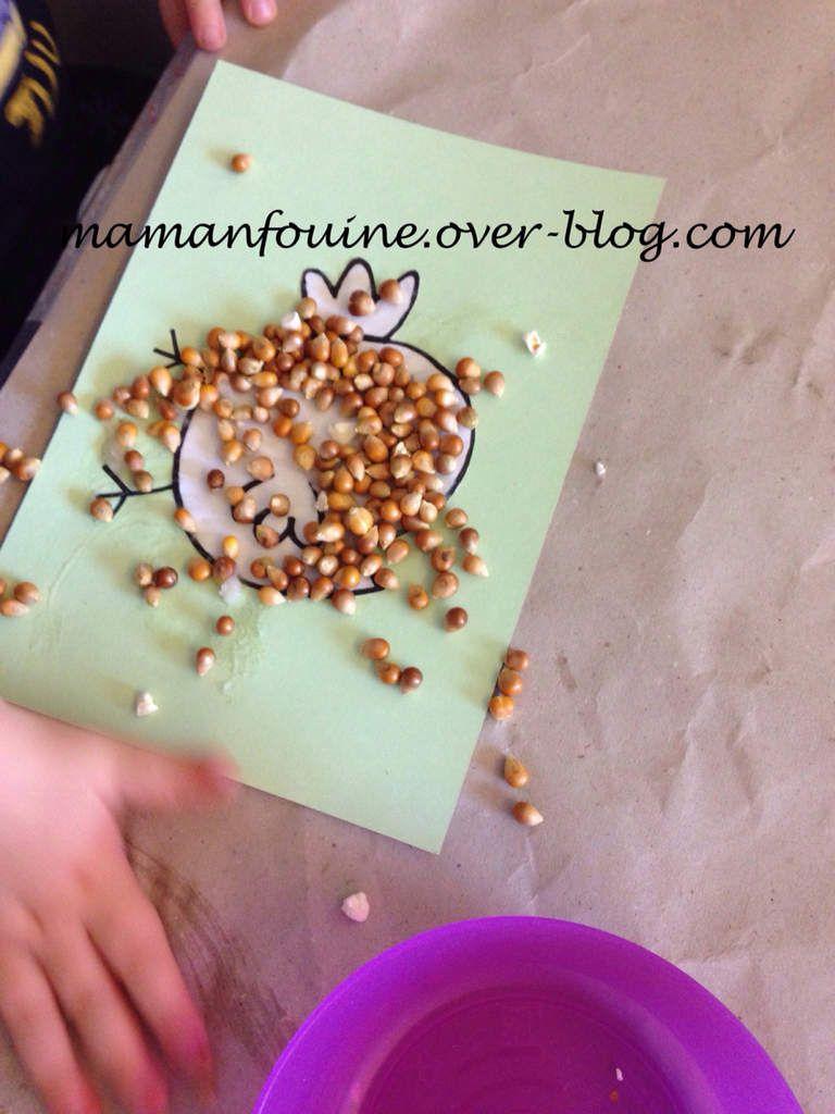 Un poussin en grains de maïs