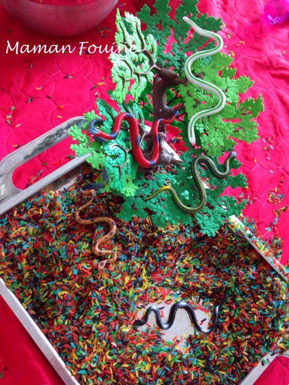 Petits serpents et riz coloré