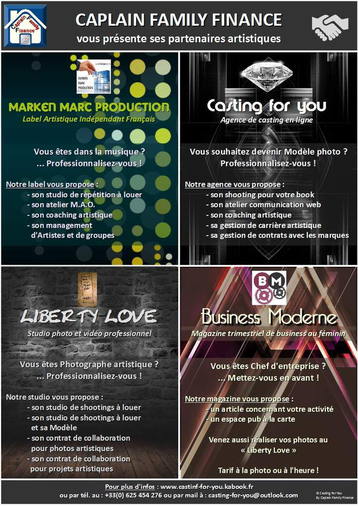 Marken Marc Production ® / Casting For You ® / Liberty Love ® / Business Moderne ®