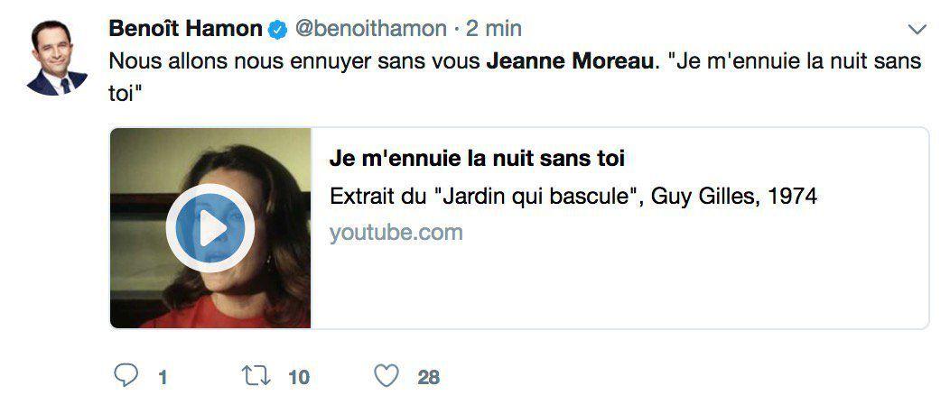 Les personnalités du cinéma, de la télévision et de la politique rendent hommage à l'actrice Jeanne Moreau décédée ce matin à l'âge de 89 ans