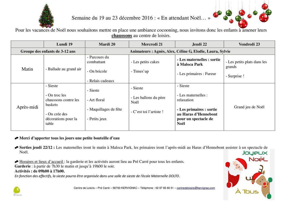 Planning des vacances de no l dans les coulisses du pr carr - Vacances scolaires de noel 2016 ...