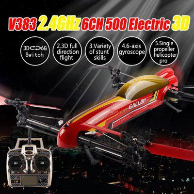 WLtoys V383 500 Electric 3D Inverted Flight 6 Axis Gyro 2.4GHz 6CH RC Quadcopter Stunt UFO