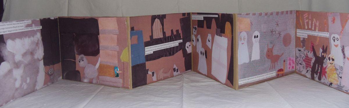 Les enfants ont inventé collectivement une histoire pour ensuite venir l'illustrer en variant les matériaux.Atelier périscolaire, Nébian, 2014