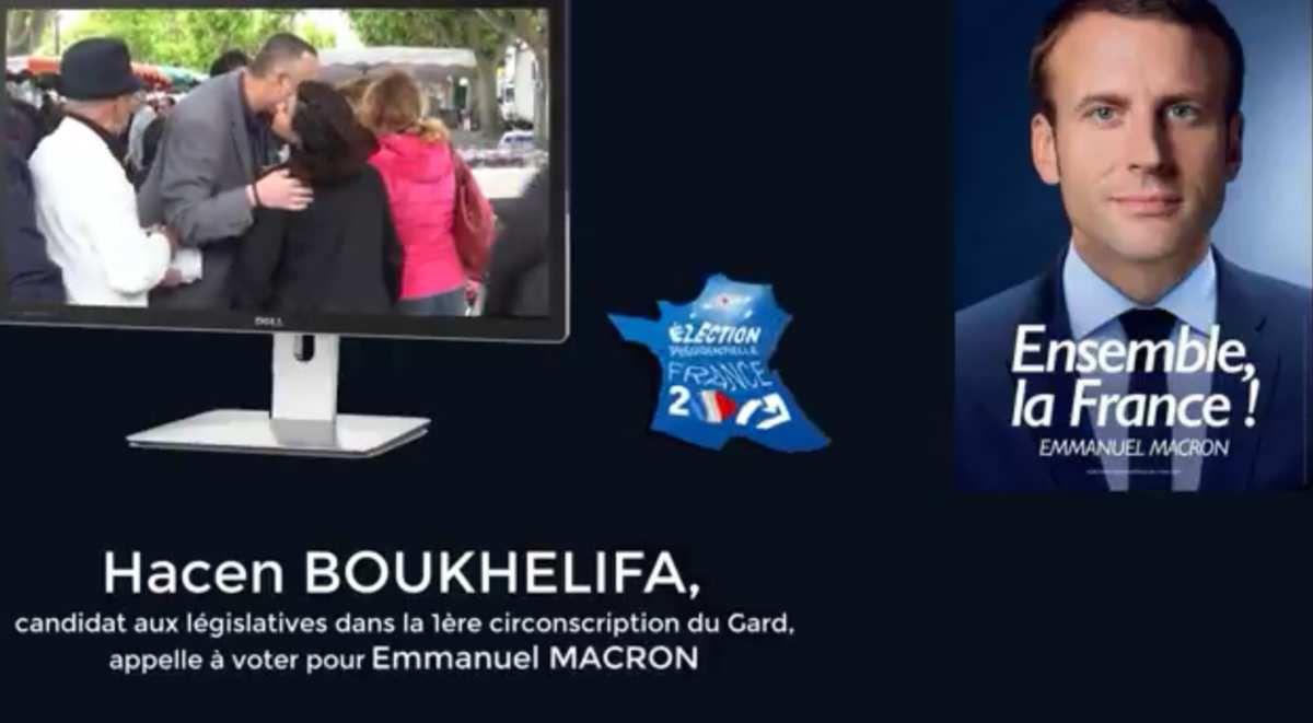 Hacen BOUKHELIFA candidat aux législatives dans la 1ère circo du Gard appelle à voter pour Emmanuel MACRON le 7 mai depuis Caissargues dans le Gard