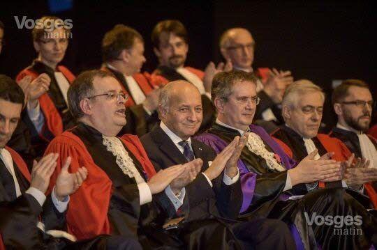 Le Doyen Gartner, Laurent Fabius et le président de l'Université de Lorraine, Pierre Mutzenhardt